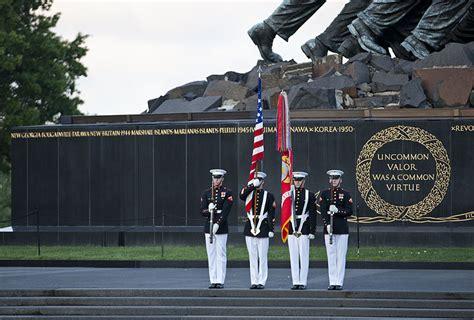 marine corps color guard file u s marine corps color guard members present the