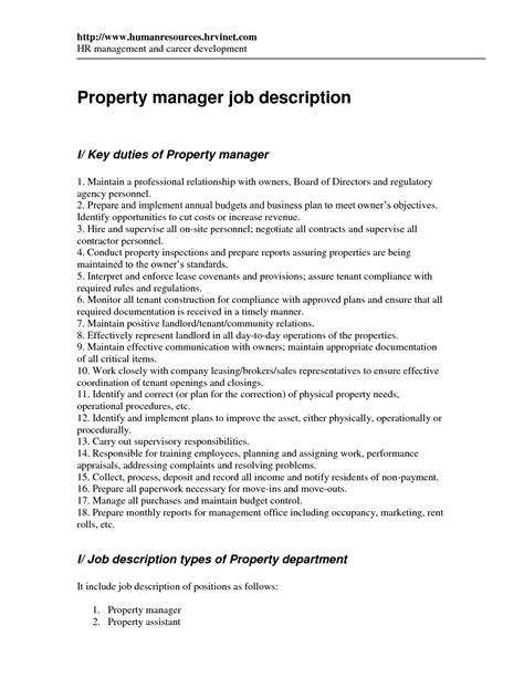 Assistant Property Manager Description by Property Manager Resume Duties 28 Images Sle Property Management Resume 8 Exles In Word Pdf