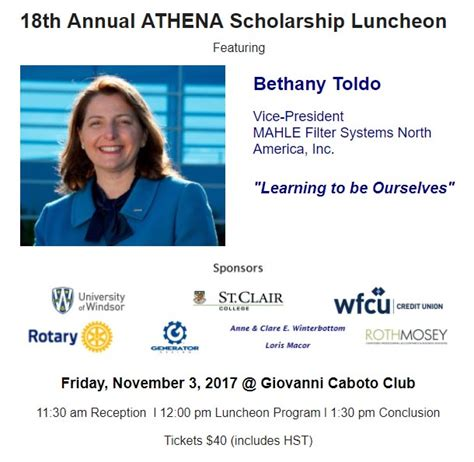 18th Annual Of The Year Luncheon by Athena Scholarship Luncheon 2017 Ontario