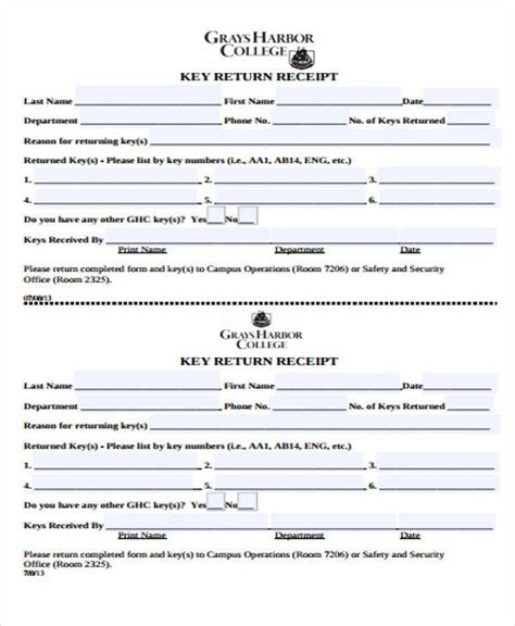 key receipt template 39 free receipt forms sle templates