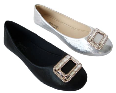 ballet flat faux leather dress fashion rhinestone shoes size 5 5 10 ga24 ebay