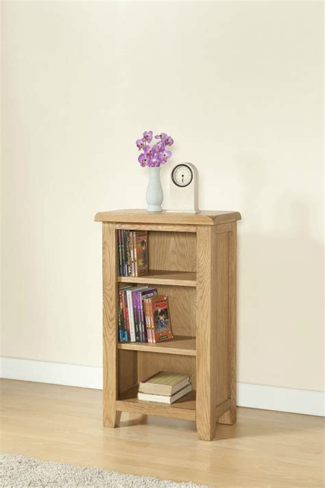 solid chunky wood rustic oak small narrow bookcase display