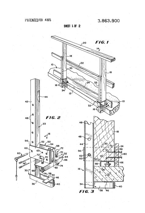 Handrail Stanchion Patent Us3863900 Removable Guard Rail Assembly And