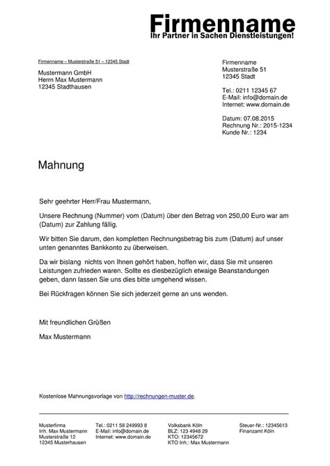 Musterbrief Angebot Absage Mahnung Muster Kostenlose Muster F 252 R Mahnungen