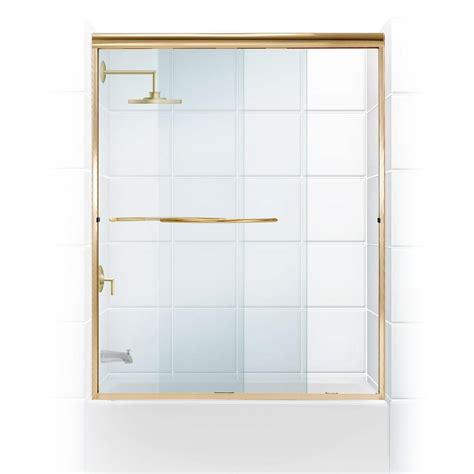 3 Door Shower Doors Coastal Shower Doors Paragon 3 8 Series 60 In X 58 In Semi Framed Sliding Tub Door With Radius