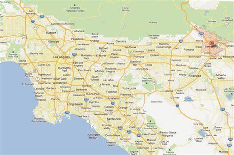 map of california from los angeles to san francisco san bernardino california map