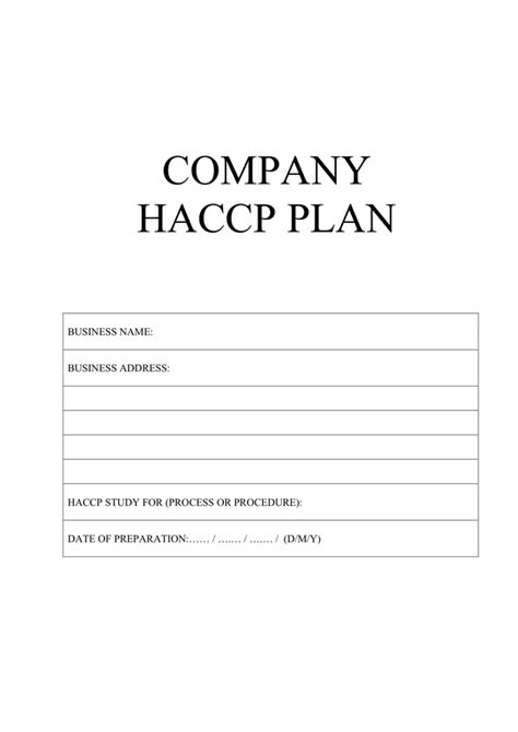 haccp plan template uk pie chart template free documents for pdf word