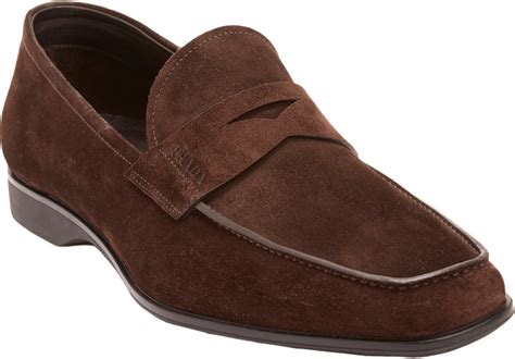 mens suede loafers lyst prada suede loafers in brown for