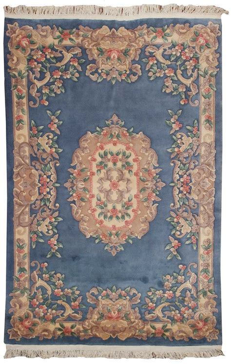 Rug Website by Rra 6x9 Aubusson Design Light Blue Ivory Rug