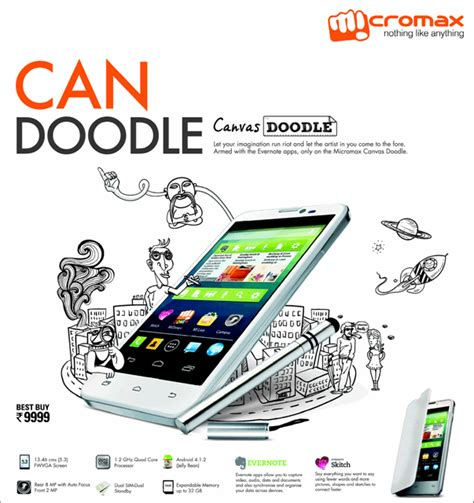 canvas doodle indian price micromax canvas doodle priced at rs 9 999