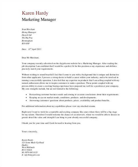 marketing cover letter marketing cover letter template sle professional