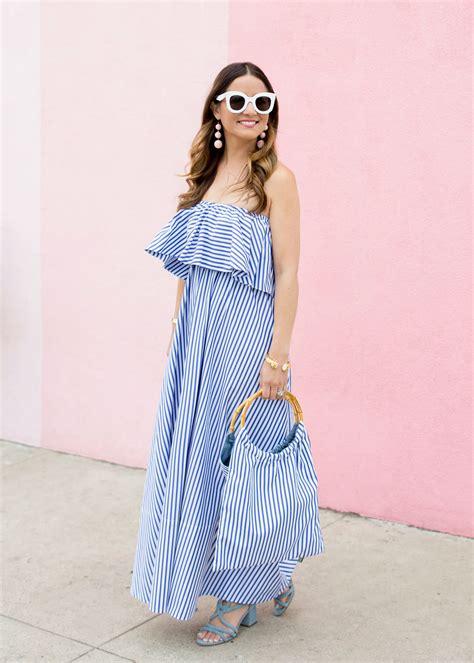 mds stripes ruffle striped dress
