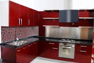 kitchen countertops with red cabinet color and small ceramic tile backsplash ideas splattering the most popular colors