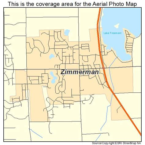 aerial photography map of zimmerman mn minnesota