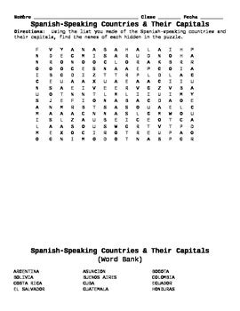printable word search of spanish speaking countries spanish speaking countries and capitals word search by