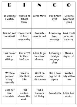 icebreaker high school bingo card template icebreaker high school bingo card template 28 images