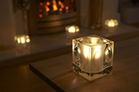 auraglow frosted polished glass led tea light candle