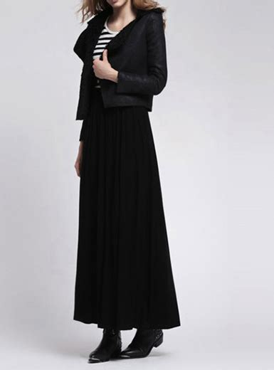 black maxi skirt european wool
