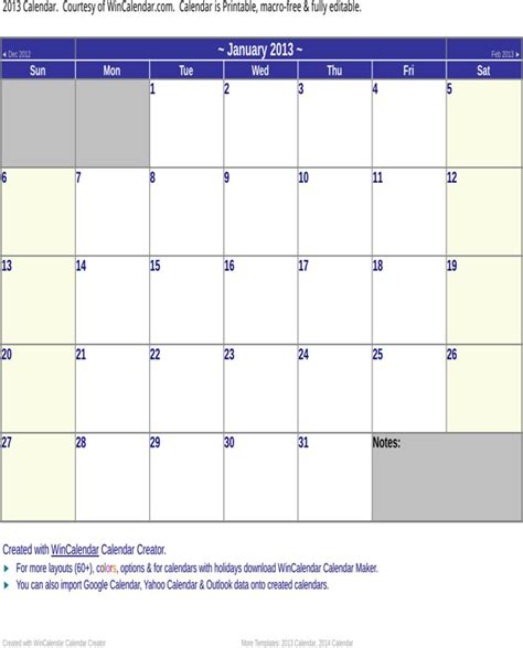2013 calendar templates 2013 calendar template for free page 3