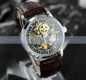 luxury charm automatic gold tone skeleton mechanical mens
