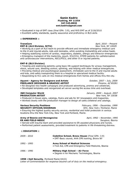 Emergency Room Description by Emt Description Resume Resume Ideas