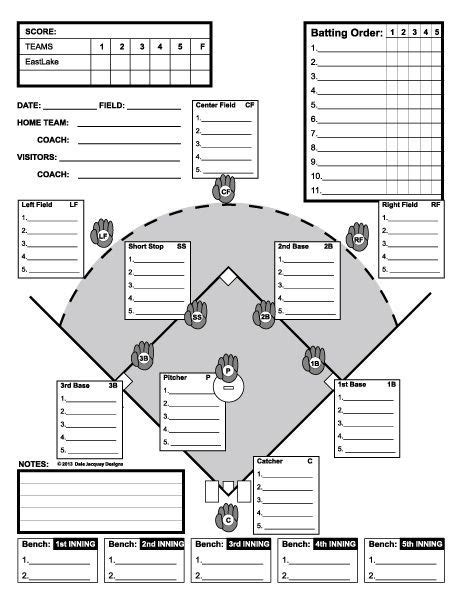 baseball field lineup card template baseball line up custom designed for 11 players useful