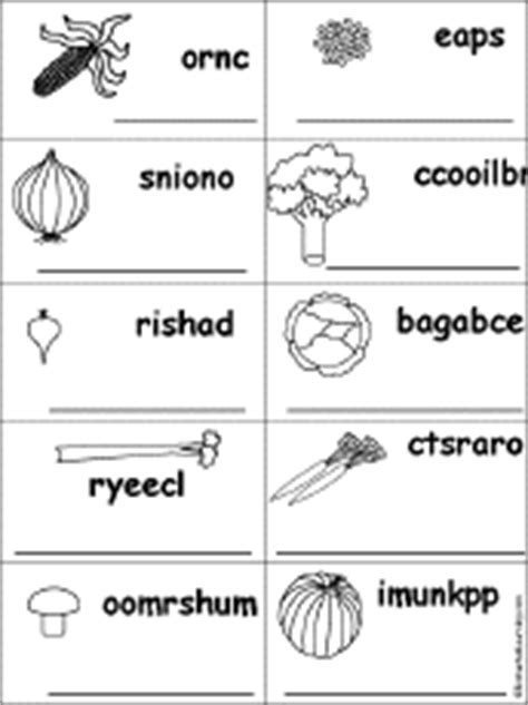 fruit unscramble fruits and vegetables spelling worksheets