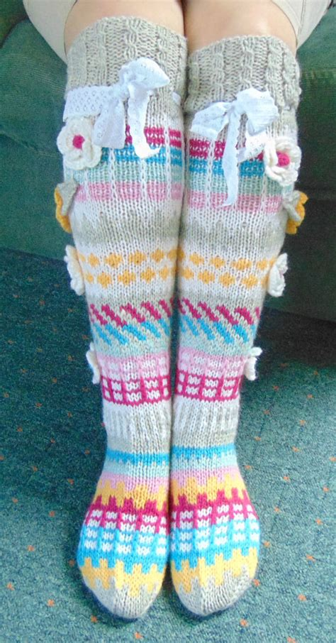 pattern for knee high socks with flowers hand knit knee socks house knee socks flower knee socks