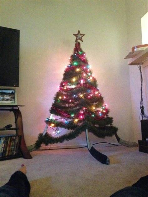 hockey stick christmas tree home ideas pinterest