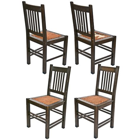 Damask Dining Room Chairs by Antique Stickley Quaint Furniture Wood Dining Chairs Set