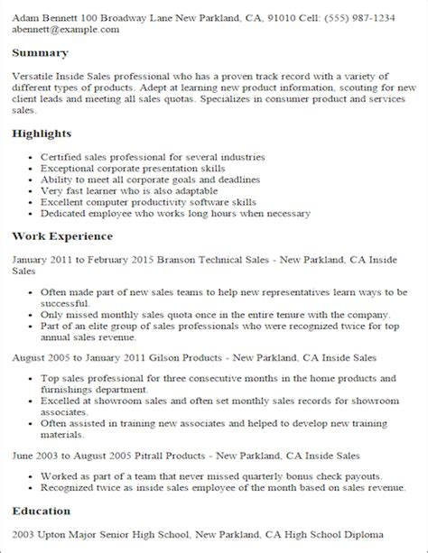 Inside Sales Associate Sle Resume by Save Changes