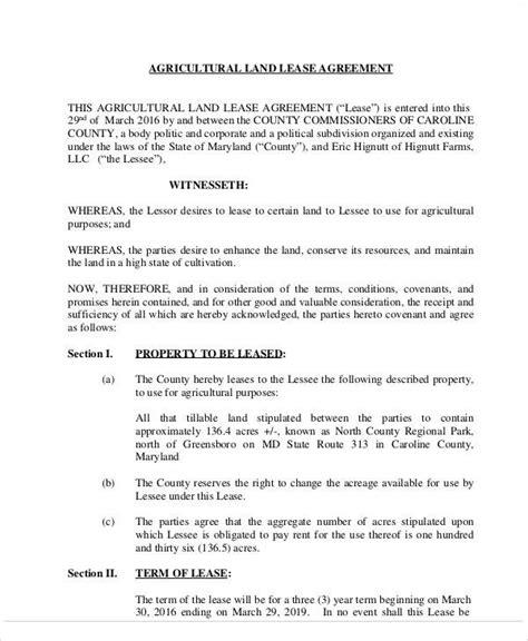 farm rental agreement template farm land lease agreement sle
