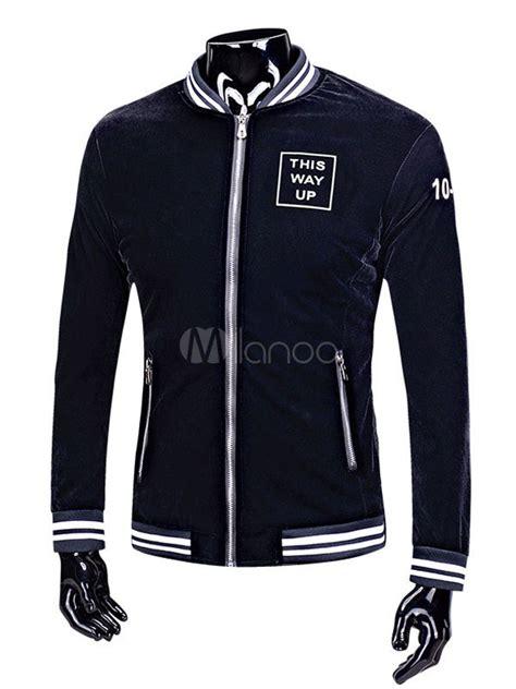 Lettering Zip Up Jacket black varsity jacket lined s zip up letters casual