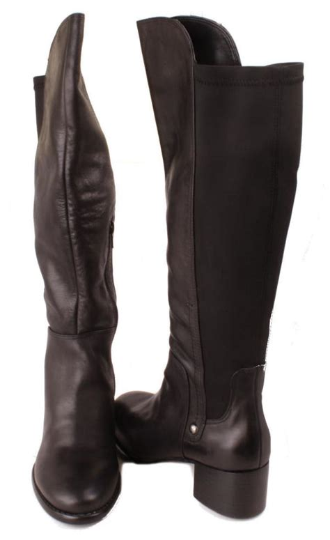 nine west allaniso womens black leather knee high
