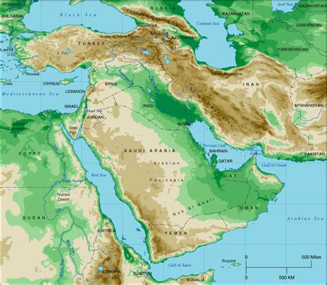 middle east map topographical middle east topographical map