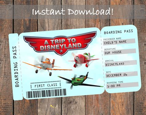 printable disneyland tickets printable ticket to disneyland customizable by