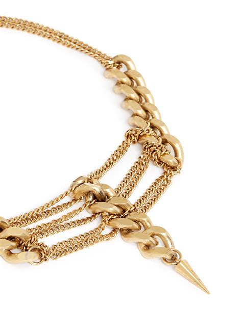 Kalung Multi Spike Charm lyst ela multi chain spike necklace in