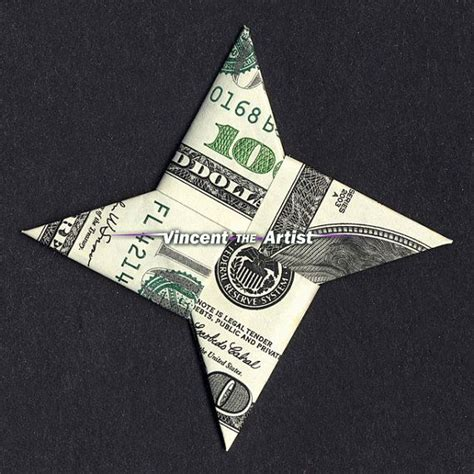 Hundred Dollar Bill Origami - 4 point money origami dollar bill