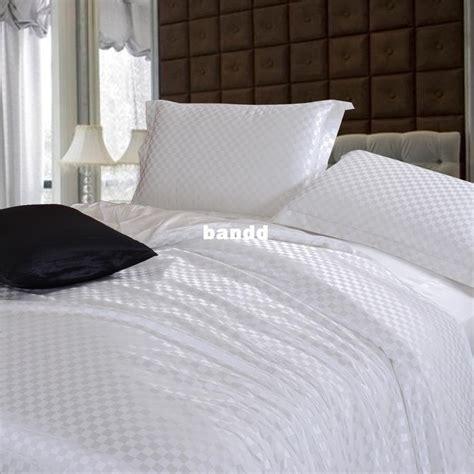 Leopard Print Duvet Cover Set Pure White Bedding Sets Brief Solid Color Silk Satin Bed