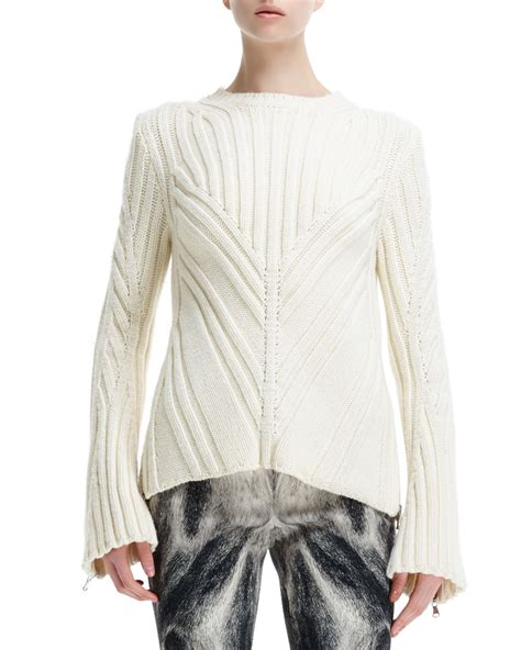 Cardigan 112226001 White Knitted lyst mcqueen chevron knit zip sleeve sweater in white