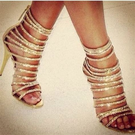 Flat Shoes Glamor Gold shoes pumps rhinestones high heels gold strappy high
