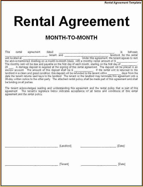 simple one page lease agreement template 5 simple one page rental agreement printable receipt