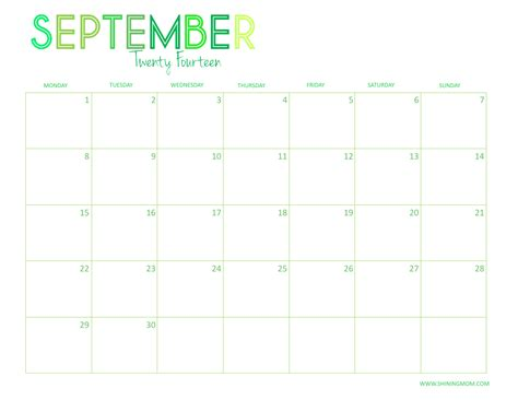 printable monthly planner september 2014 8 best images of september october 2014 calendar printable