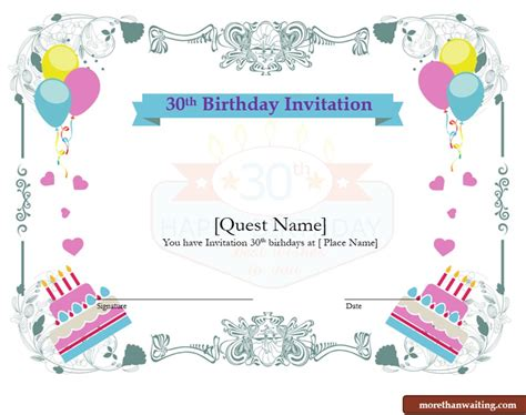 Download Free 30th Birthday Invitations Templates For Him Or Her Graphic Templates 30th Anniversary Invitations Templates