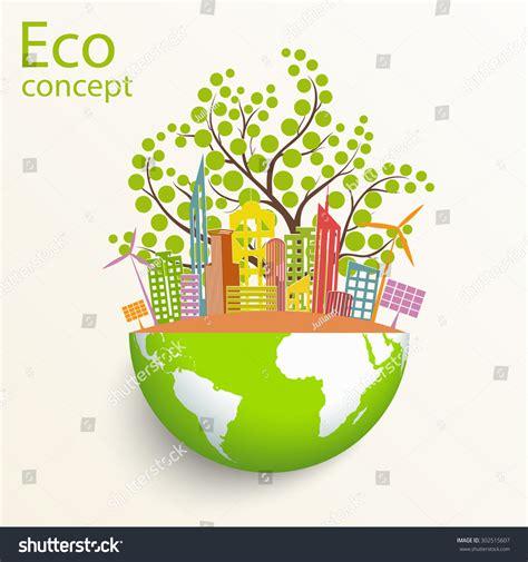 environmentally friendly trees environmentally friendly world city solar panels stock