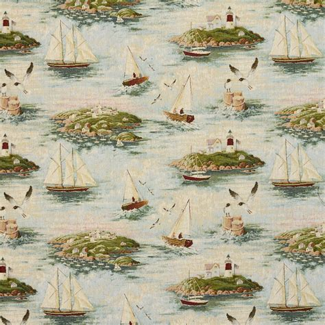 boat upholstery kentucky lighthouse and sail boats woven novelty upholstery fabric