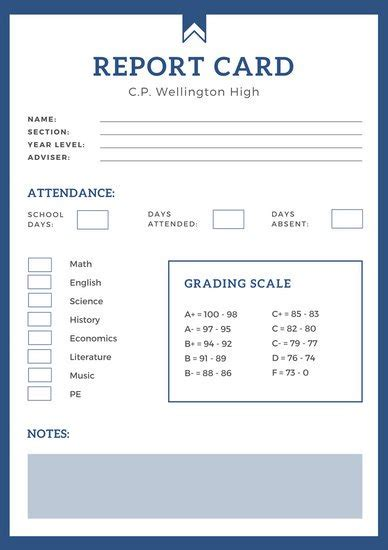 School Result Card Template by Blue Simple High School Report Card Templates By Canva