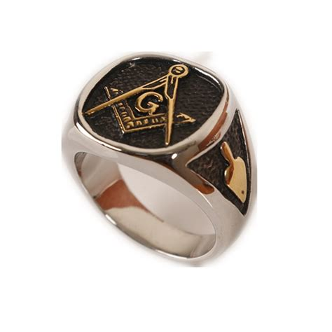 cool mens silver gold free freemasonry masonic ring