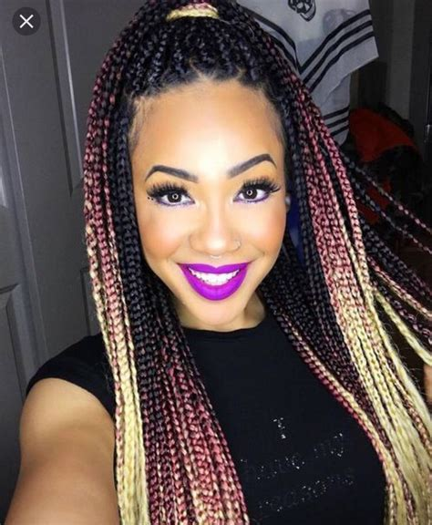colored box braids black pink gold ombr 233 braids box braids