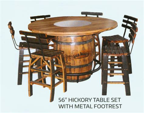 amish whiskey barrel table hickory rustic barrel table set